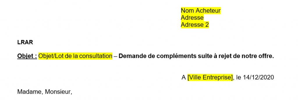 Modèle de demande de compléments suite à rejet d'offre à un marché public / appel d'offres