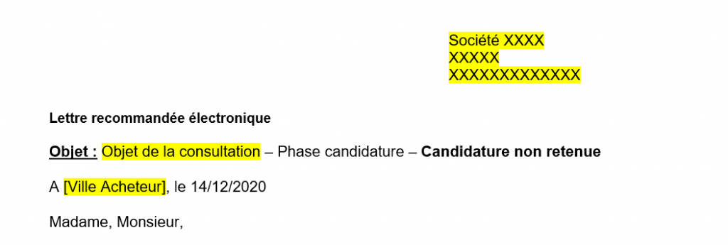 Modèle lettre aux candidats non-retenus - Phase candidature - Procédure restreinte