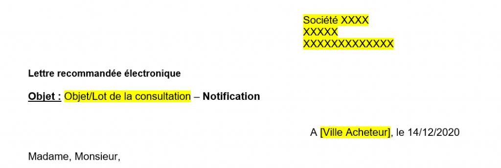 Modèle lettre de notification marché public